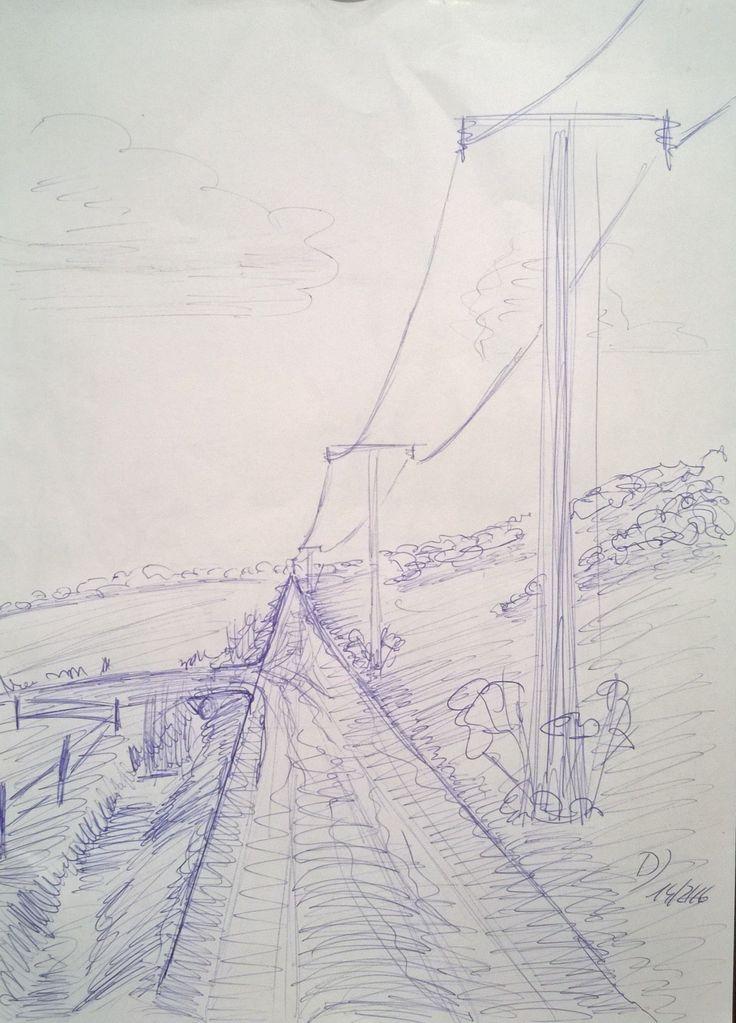 Skizze mit Kugelschreiber auf A4-Papier. Feldweg mit Telegrafenleitung. Bisher noch nicht umgesetzt