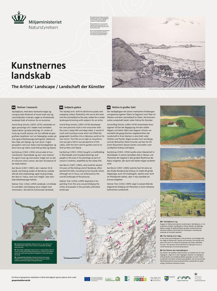 Landskabsskilt om kunstnerkolonien i Odsherred. Skiltet står på Naturstyrelsens arealer og der er derfor brugt Naturstyrelsens logo.