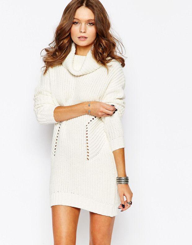 Λευκό μινι πλεκτό φόρεμα