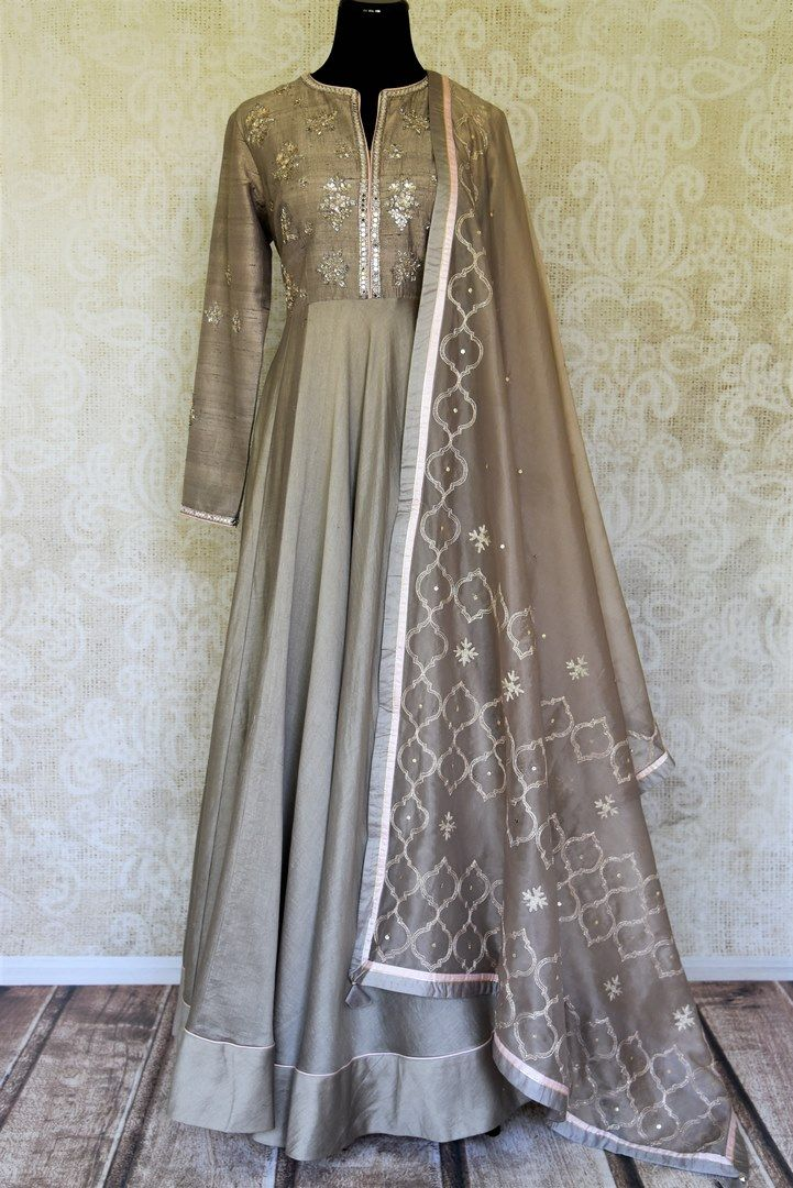 e5cc0bf76d Gorgeous grey color embroidered floorlength silk Anarkali suit with dupatta  for a captivating party look.