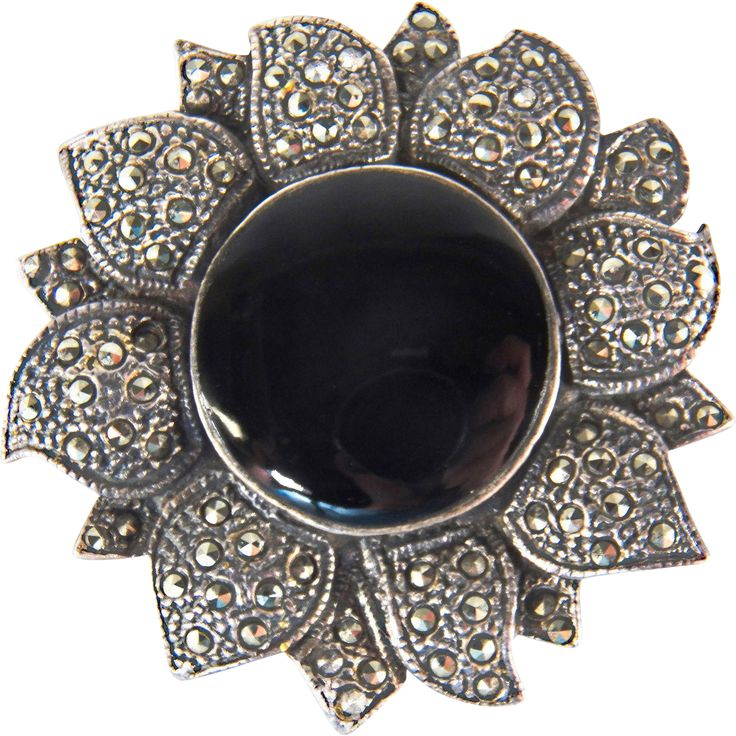 Vintage Sterling Silver Onyx and Marcasite Floral Pin