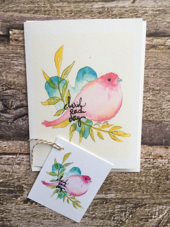 Note cards  matching gift tags of pretty pink bird. Text