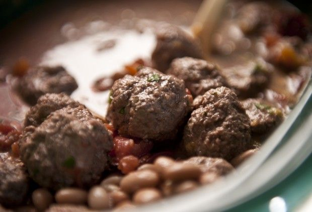 Slow Cooker Lamb Meatballs with Cannellini Beans
