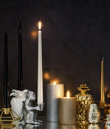 Large Pillar Candle | Silver-colored/glittery | Home | H&M US