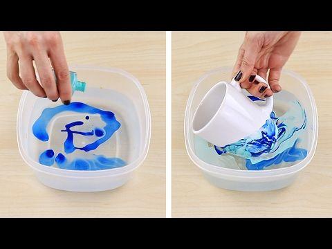 Decorare una tazza con acqua e smalto x unghie .....