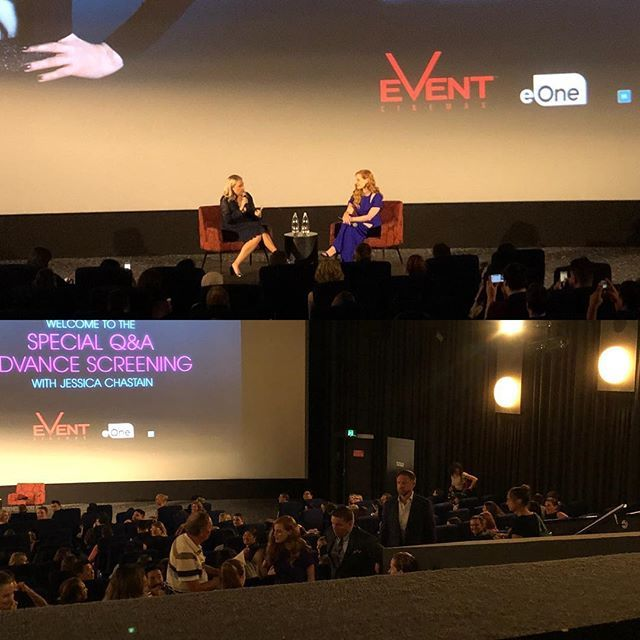 Saw a special preview of Mollys Game tonight with Jessica Chastain who answeeed questions after. Love the movie loved Molly and the story. What an amazing tumultuous somewhat criminal life she had! #mollysgame #jessicachastain #movienight @eonefilms @eone_anz