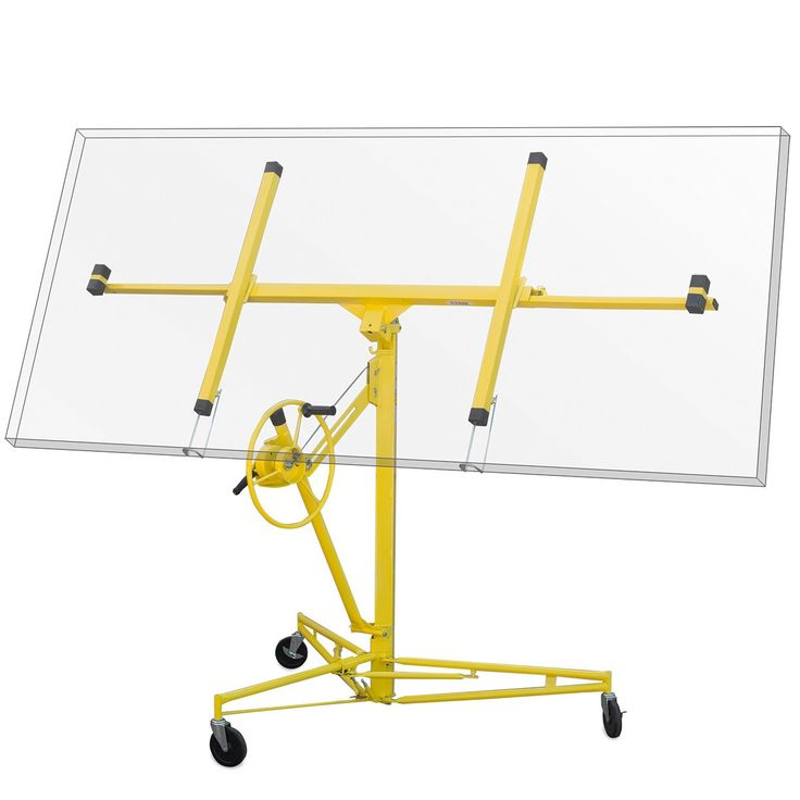11' Drywall Rolling Lifter Panel Hoist Jack Caster Construction Tool, Yellow