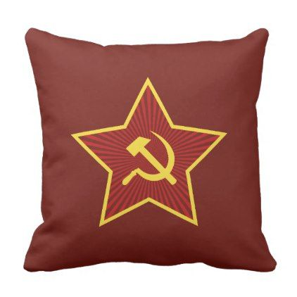Red Star Hammer and Sickle Throw Pillow - red gifts color style cyo diy personalize unique
