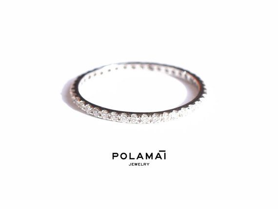 White Gold Eternity Ring 0.40ctw 18k 1.4mm Full or Half by Polamai