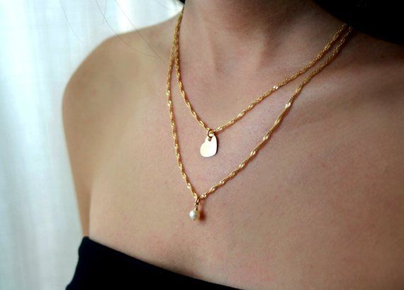 Double Layered Chain Necklace Multi Chain Necklace Bridal Jewelry Bridal Pearl Necklace Wedding Layered Chain Necklace Pearl Chain Bridal Jewelry
