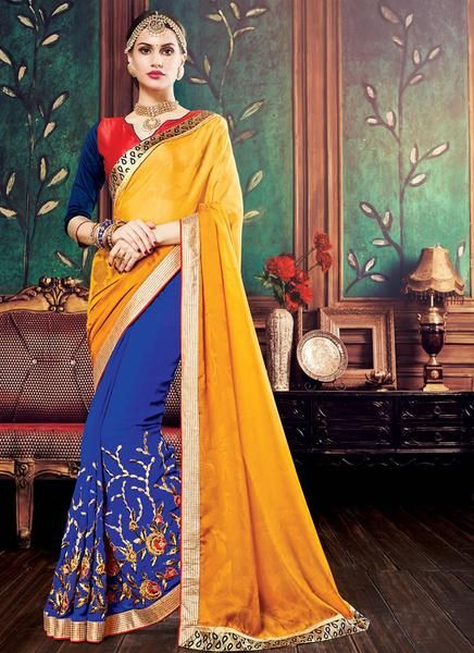 LadyIndia.com #Printed Sarees, Urban Naari Yellow And Blue Colored Crepe Jacquard And Georgette Saree, Printed Sarees, https://ladyindia.com/collections/ethnic-wear/products/urban-naari-yellow-and-blue-colored-crepe-jacquard-and-georgette-saree
