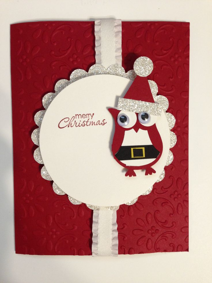 Stampin Up owl builder punch Santa card! Using owl Santa from www.paper-escape.blogspot.com