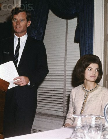 Robert F. Kennedy and Jackie Kennedy at announcement of architect for JFK Library.