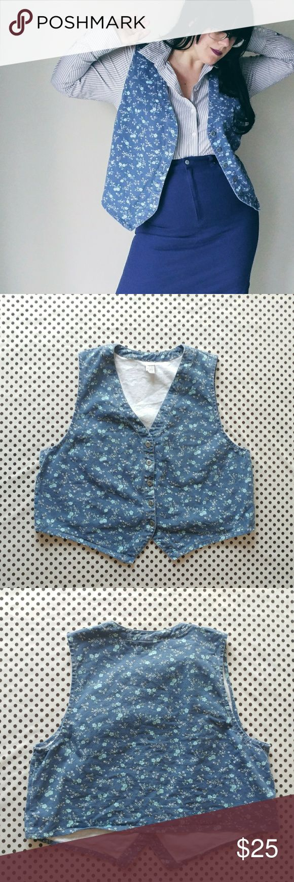 Cherokee Floral Blue Jean Vest-  Size 18/20 Cherokee Floral Blue Jean Vest-  Size 18/20  Perfect condition, no holes or stains. Brand- Cherokee 100%Cotton  CH-48 W-50 L-23  #cotton #bluejean #blue #jean #floral #Cherokee #plus #plussize #sizeXL #Xlarge #size18 #size20 #vest #jeanvest #flowers Cherokee Jackets & Coats Vests