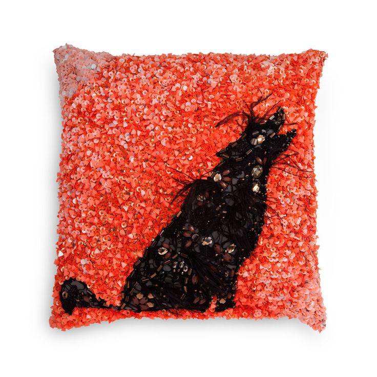 Evening Wolf | Decorative Cushion | A lone wolf, set in lace patchwork on taffeta and embellished with gems, stones and hand embroideries, ups the style quotient in any room.