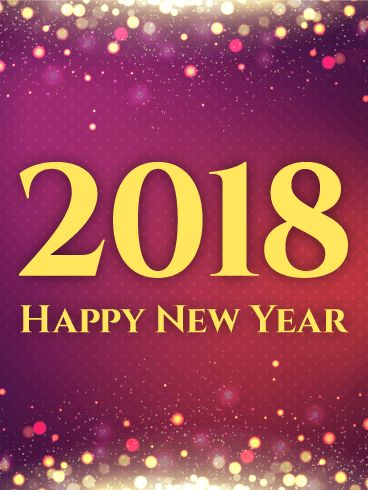"""Shiny Purple Happy New Year Card 2018: If you need an elegant, alluring New Year card to send, this is the card for you! Varying shades of purple, pink, and red fill the background, along with a pattern of light pink dots. At the top and bottom, a gentle glow creates glitters and spots of light. In the center, yellow text proclaims """"2018 Happy New Year."""" Send this card to celebrate the New Year with everyone you know!"""