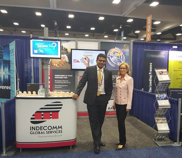 Indecomm's CEO of Financial Services Rajan Nair with Linda Bomar, Vice President of Sales at our booth #724 at the MBA Annual in San Diego, CA. #MBAAnnual15