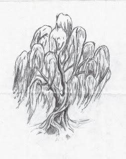 I want to paint this willow tree in the nursery and put two book shelves on the horizontal branches.