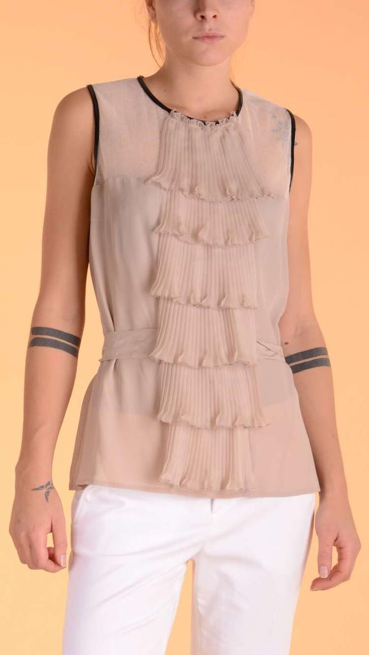 Atos Lombardini Nude colour pleated ruffle top with contrast trims