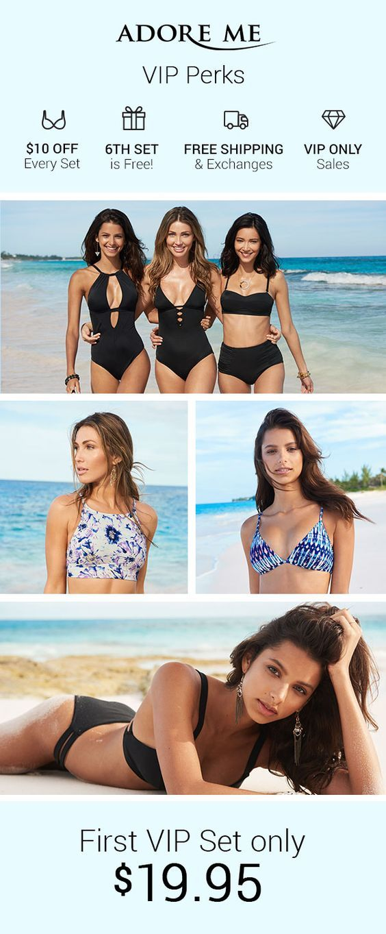 Life is all about compromise, but not when it comes to the perfect swimwear. Adore Me swimwear is designed to channel your inner glow. Choose from high neck cuts, traditional bikinis, reversible patterns, crochet details and high-waist bottoms. With the 2017 swimwear collection, YOU create your perfect swimwear match. Your first VIP set is only $19.95! Glow, on...treat yourself! Sign up today!