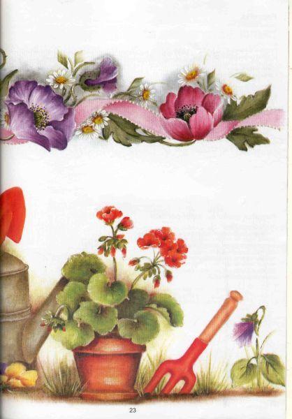 Pintura em Tecido Passo a Passo: Pintura em tecido Gerânios e amor-perfeito