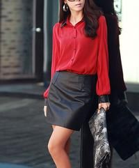 Red Long Sleeves Casual Ladies Shirt With Leather Imitation Collar
