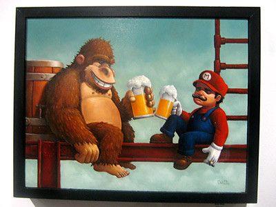 After 5:00!Beer, Donkeykong, Living Room Art, Videos Games, Supermario, Super Mario Brother, Donkeys Kong, Super Mario Bros, Donkey Kong
