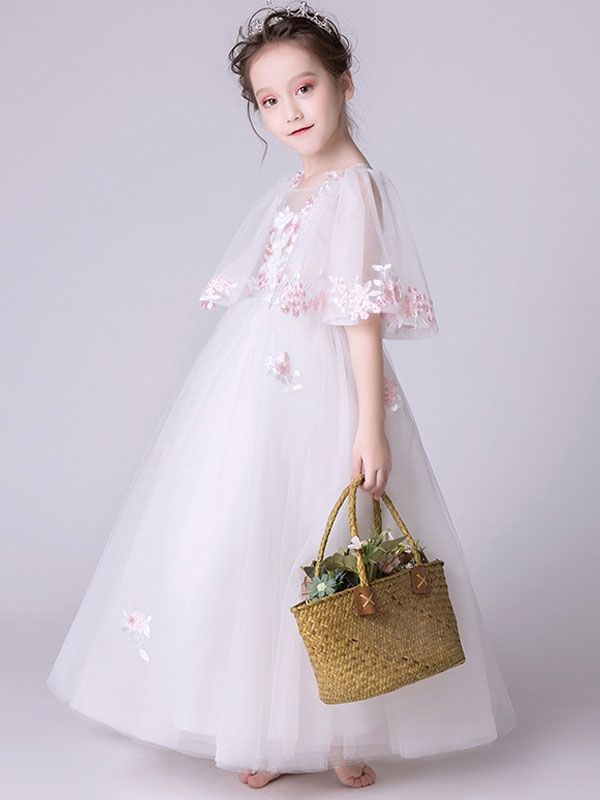 53ce18889bf Embroidery Flowers Mesh Round Collar Half Sleeves Long Dress