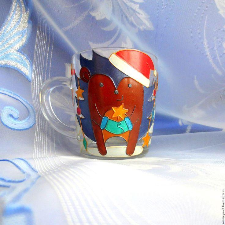 """Купить Кружка """"Ёжик Френди"""" - комбинированный, Новый Год, еж, ежик, игрушки, подарок, елка"""