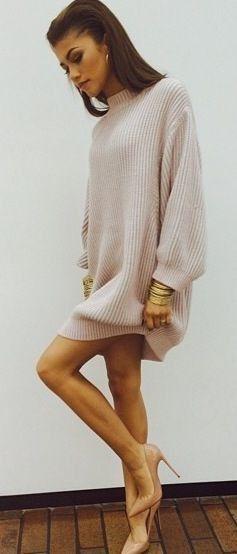 #street #style / sweater dress #street