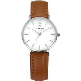 OBAKU Mark Lille - Mocha // stainless steel watch with a brown leather strap