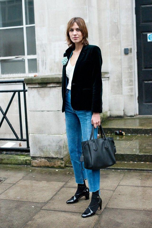 We love the idea of testing out Chung's velvet blazer–and-jeans combo for casual Friday. On Alexa Chung: Longchamp Penelope Tote ($935); Marks & Spencer top; Saint Laurent Velvet...