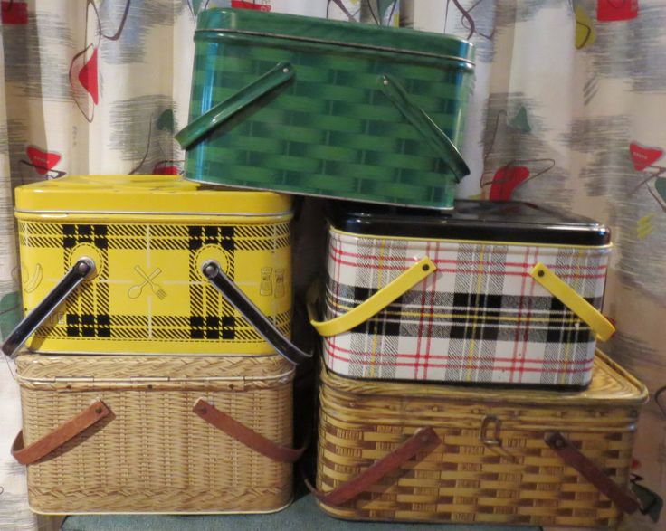 My  collection of tin picnic baskets