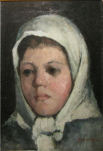 White Headscarf Girl Head - Ion Andreescu