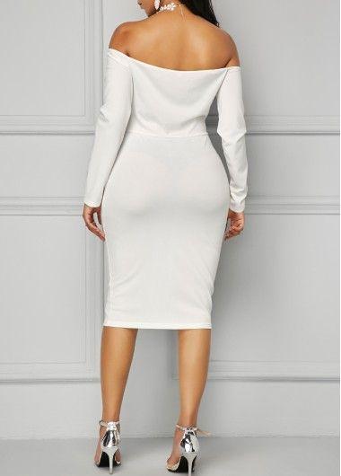 0497d8c858 Long Sleeve White Bardot Sheath Dress