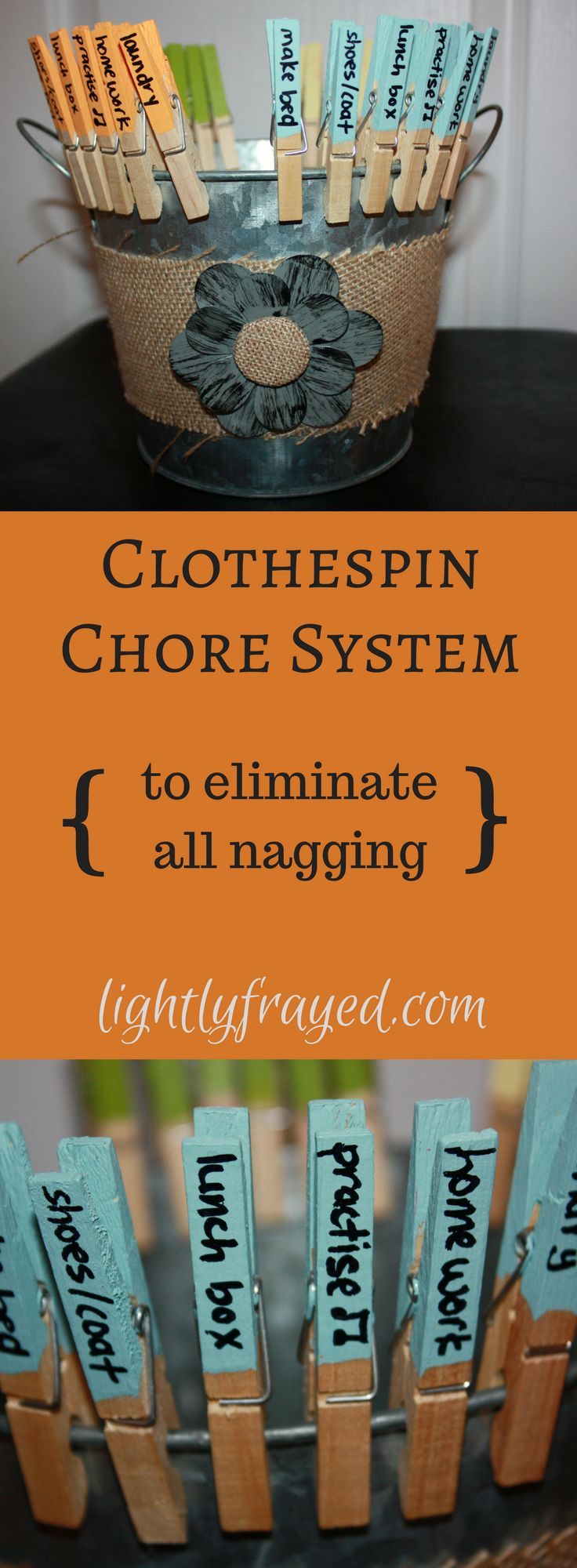 This simple clothespin chore system is easy to create and implement. Click to ready how our chores are completed without nagging or reminding....true story.