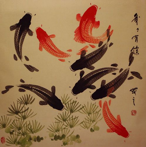 Large koi fish painting on antiqued paper asian koi fish for Japanese koi carp paintings