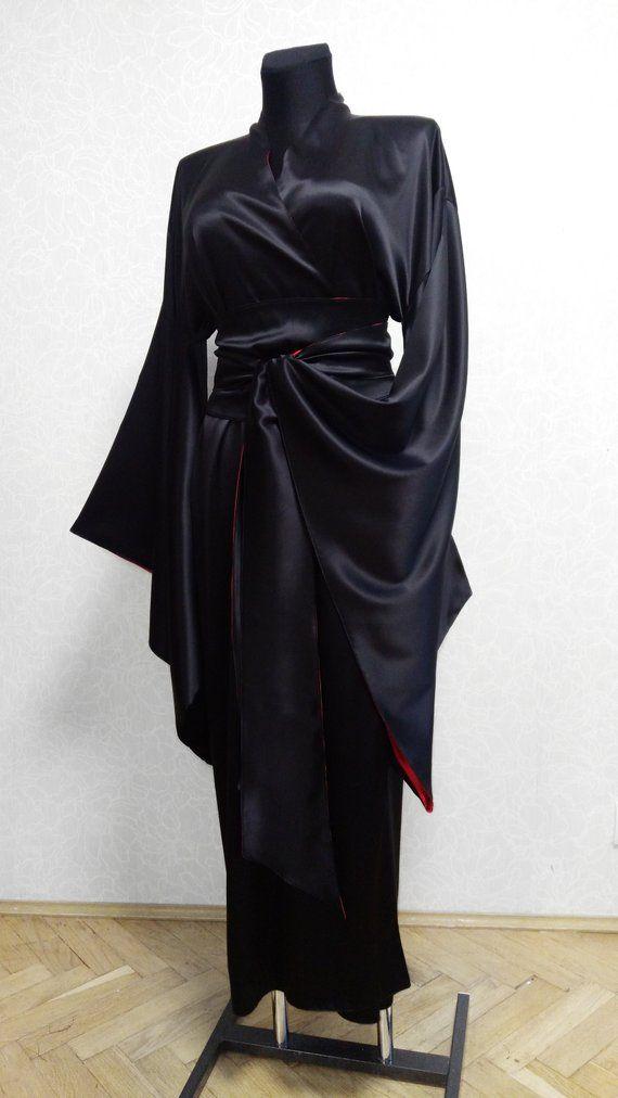 0e0a993b151a3 Japanese silk kimono robe, Double-sided kimono robe, black robe ...