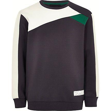 Boys grey colour block sweatshirt £16.00