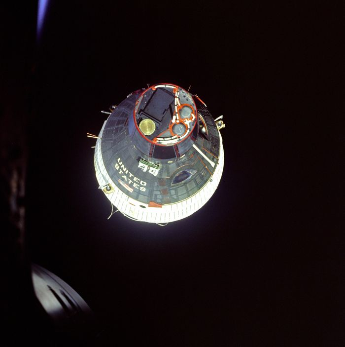 Space History Photo: Gemini 6 view of Gemini 7 during rendezvous maneuvers on Dec. 15, 1965.