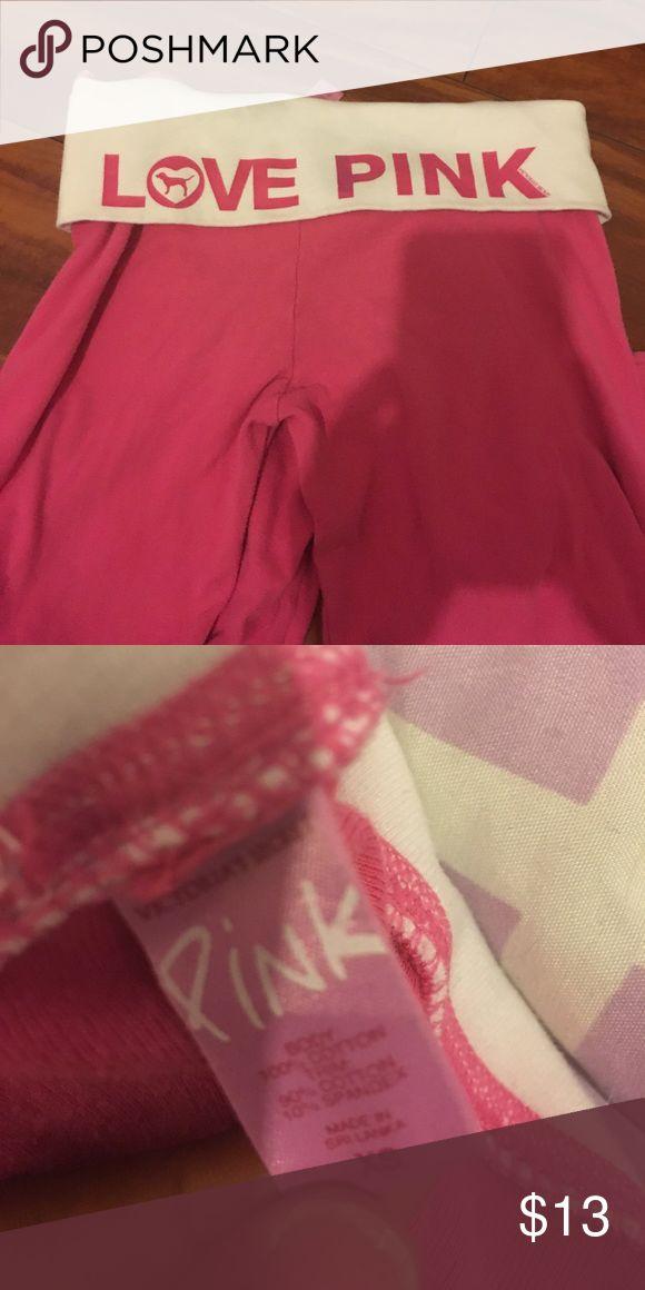 Comfy love pink yoga pants Comfy 100% cotton VS PINK yoga pants! PINK Victoria's Secret Pants Leggings