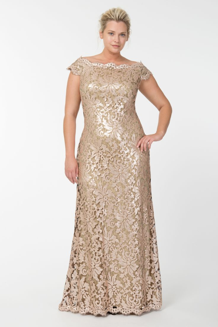 Paillette Embroidered Lace Off Shoulder Gown in Ginseng | Tadashi Shoji Fall / Holiday Plus Size Collection