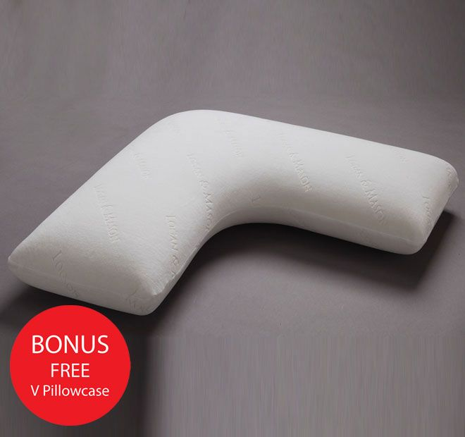 V Shape Memory Foam LOGAN AND MASON LIFESTYLE  After its development by NASA for space craft safety and comfort, memory foam was adopted by the medical field for bed restricted patients. It was recognised to improve alignment and circulation in the body due to its unique moulding properties. Using this pressure relief technology, this v shape pillow moulds to the head and neck giving individualised support to the sleeper, promoting a better night's sleep. The versatile contour can be used…