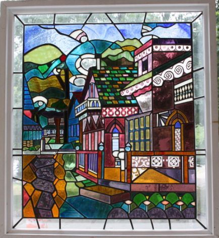 """""""Pink House,"""" stained glass, by Ed Cowley,"""