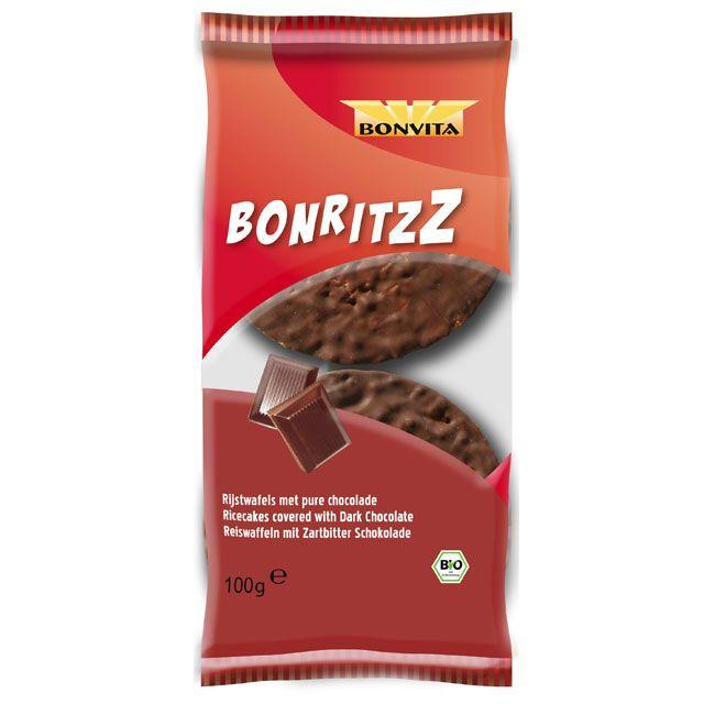 """""""BonritzZ"""" Ricecake Dark Chocolate - Bonvita Biologische Zoetwaren en Snacks"""