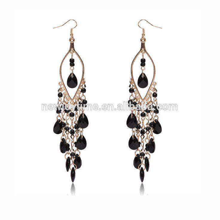 Bohemian Costume Jewelry Gold Hook Bead Drop Fashion Long Hanging Earrings #Bead_Earrings, #gold