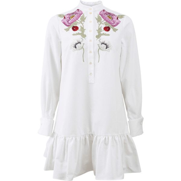 Alexander Mcqueen Embroidered Mini Pique Shirt Dress ($1,525) ❤ liked on Polyvore featuring dresses, long-sleeve mini dress, long dresses, white collar dress, floral mini dress and long shirt dress