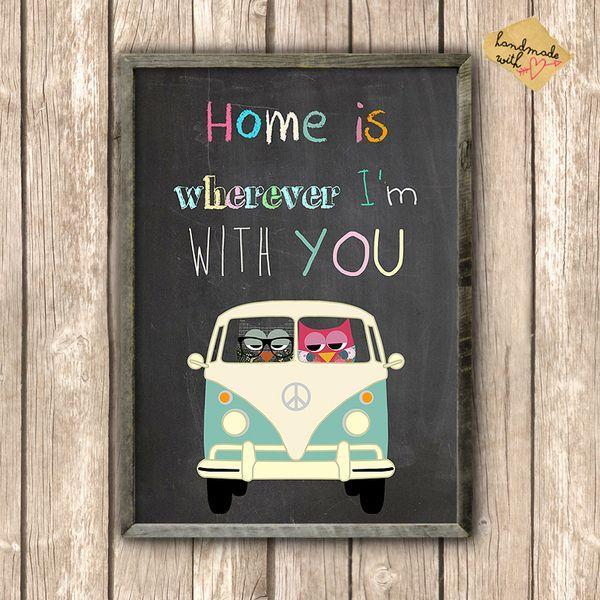 Geschenke für Frauen - Eulen im Bus - Home is wherever I'm with you - ein Designerstück von VintagePaperGoods bei DaWanda