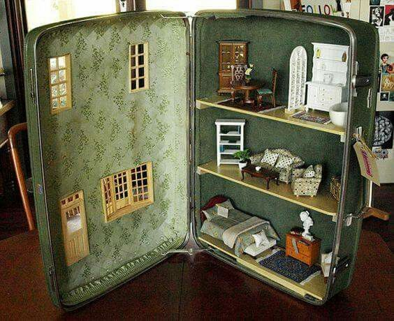 Repurposed suitcase dollhouse doll house DIY