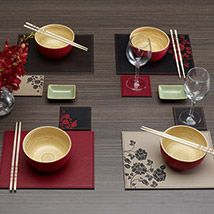 Nakitta is an elegant dining option with a luxurious leather look and distinctive pattern. Fully reversible to allow for a choice of colour options, the faux leather placemats and coasters are plain one side and feature a delicate floral pattern on the other side. Stitched edging provides a tailored and stylish finish.